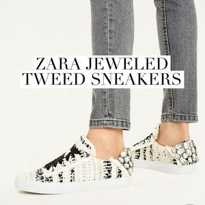 NWT Zara Jeweled Tweed Sneakers Size 5